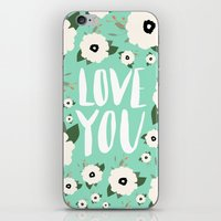 Love You Floral - Turquo… iPhone & iPod Skin