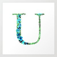 Floral Monogram Letter U Art Print