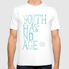 Youth Has No Age (Blue) SMALL White Mens Fitted Tee