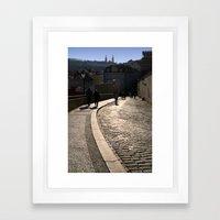 Cobbled Street near Prague Castle Framed Art Print