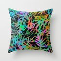 Electric Palms - Black Throw Pillow