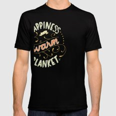 Happiness is a Warm Blanket Mens Fitted Tee Black SMALL