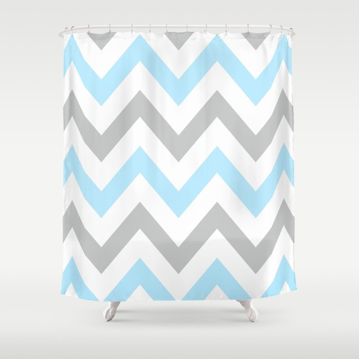 Blue Gray Chevron Shower Curtain By Natalie Sales Society6