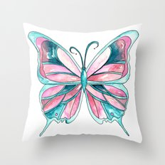 Pink and Blue Watercolor Butterfly Throw Pillow