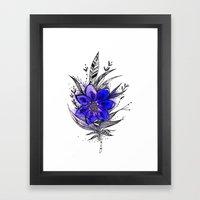 Blue Flower Feather Framed Art Print