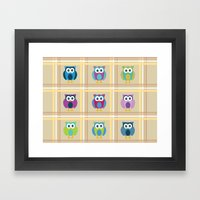 Plaid Owls Framed Art Print