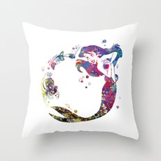 The Little Mermaid Ariel Watercolor  Throw Pillow