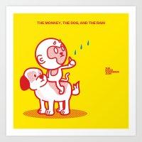 The Dog, the Monkey, and the Rain Art Print
