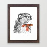 red bow Framed Art Print