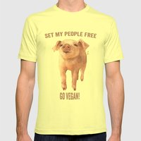 VEGAN T-shirts, Pig T shirts, Pig tees, cute baby animals, piglet, animal rights Mens Fitted Tee Lemon SMALL