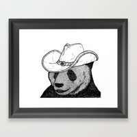 Cowboy Panda Framed Art Print