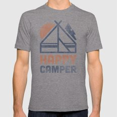 Happy Camper Mens Fitted Tee Tri-Grey SMALL