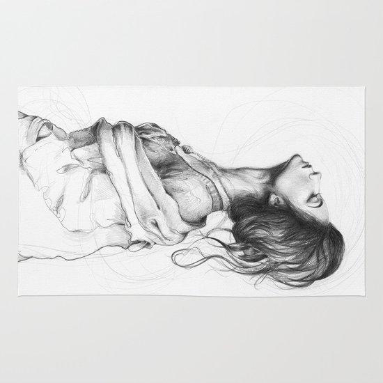 Pretty Lady Illustration Area & Throw Rug