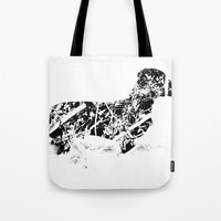 Dachshund in the snow Tote Bag