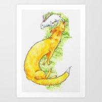 Fox Chasing Rabbit Art Print