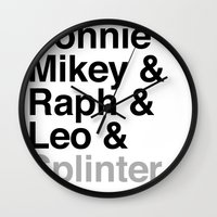 One big mutant family: Donnie & Mikey & Raph & Leo & Splinter Wall Clock