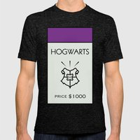 Hogwarts Monopoly Location Mens Fitted Tee Tri-Black SMALL