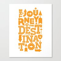 Orange Type Journey Quote  Canvas Print