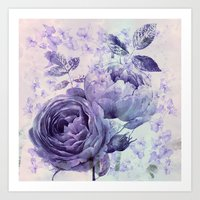 roses and ivy in purple Art Print