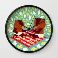 picknick bears Wall Clock