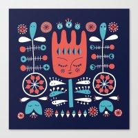 Folksy - Midnight blue Canvas Print