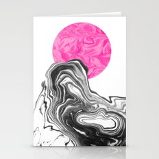 Iniko - spilled ink abstract japanese watercolor painting minimal modern black and white marble  Stationery Cards