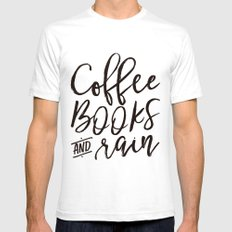 Coffee Books And Rain Art Print Mens Fitted Tee White SMALL