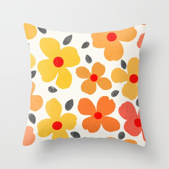 Dogwood Saffron Throw Pillow