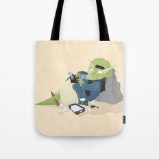 Hipster Dinosaur adds the latest chapters to his novel Tote Bag