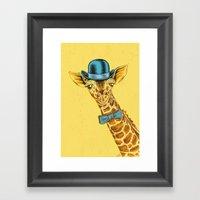 I'm too SASSY for my hat! Vintage Painted Giraffe. Framed Art Print