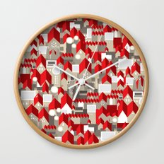 red roofs Wall Clock