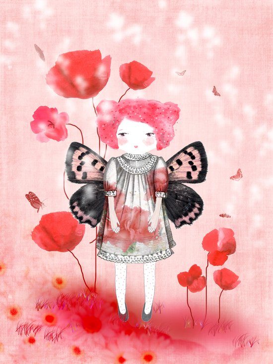 Lady Butterfly in love Art Print