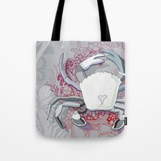 Crab tangling, simple grey Tote Bag