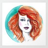 'Circle' Redhead Illustration Art Print