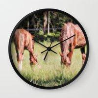 Horses Feeding In A Fiel… Wall Clock