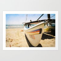 Sailboat On The Beach Art Print