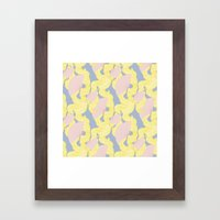 Spotted Fan & Trailing Hair // Pink & Yellow Pastels Framed Art Print