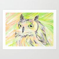 Bright Owl Art Print