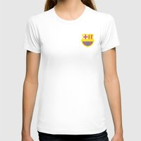 barcelona logo Womens Fitted Tee White SMALL