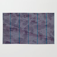 Red stripes on blue grungy textured background Rug