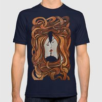 Lesbian Kiss (Art Nouveau Style)  Mens Fitted Tee Navy SMALL