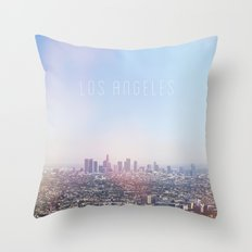 Los Angeles Skyline Typography  Throw Pillow