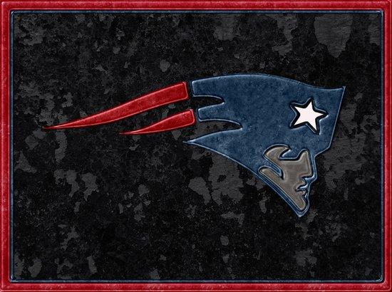 New England Patriots Logo Leather on Stone Canvas Print