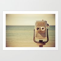 robot Art Prints featuring Robot Head by Olivia Joy StClaire