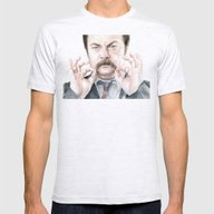 Swanson Mustache Mens Fitted Tee Ash Grey SMALL