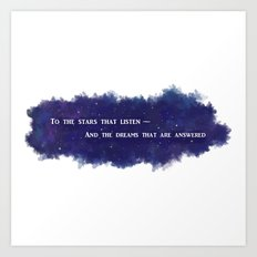 To the Stars that Listen (White) - A Court of Mist and Fury Art Print