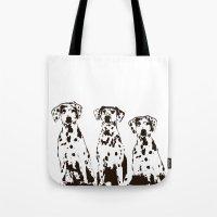 Three Dalmatians Dogs Tote Bag