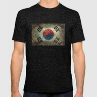 National Flag Of South K… Mens Fitted Tee Tri-Black SMALL