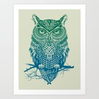 pink Art Prints featuring Warrior Owl by Rachel Caldwell