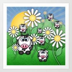 Cows & Daisies  Art Print